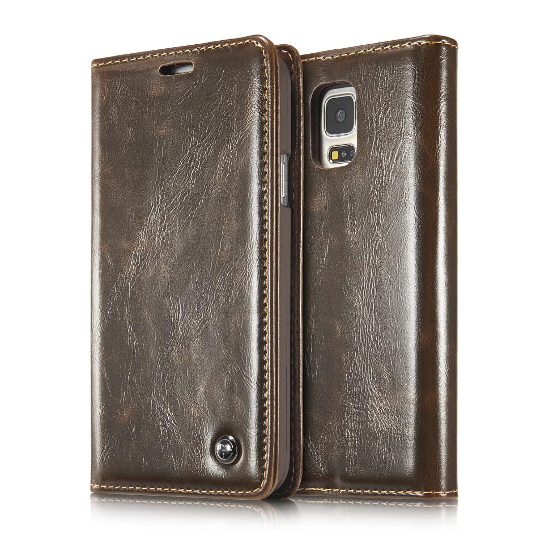 Husa piele fina, tip portofel, stand, inchidere magnetica, Samsung Galaxy S5 / S5 Neo - CaseMe, Maro coffee