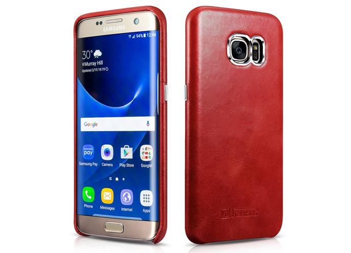 Husa din piele naturala, tip back cover, Samsung Galaxy S7 Edge - iCarer Transformers, Rosu burgund