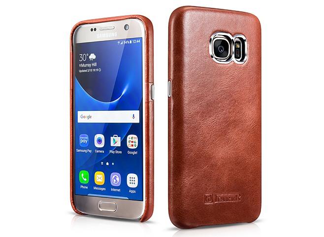 Husa din piele naturala, tip back cover, Samsung Galaxy S7 - iCarer Transformers, Maro coniac
