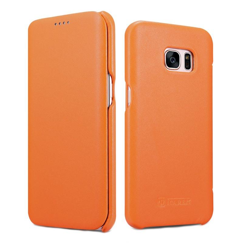 Husa din piele naturala, tip carte, Samsung Galaxy S7 Edge - iCarer Luxury, Portocaliu