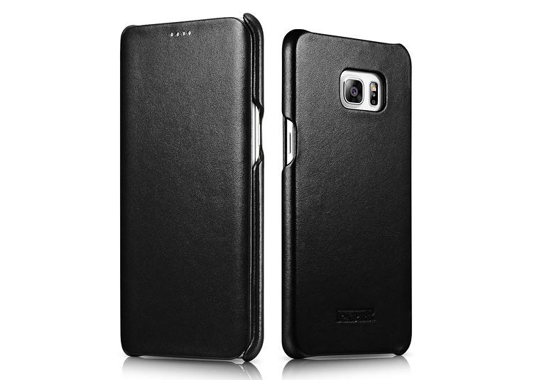 Husa din piele naturala, tip carte, Samsung Galaxy S6 Edge Plus - iCarer Luxury, Negru