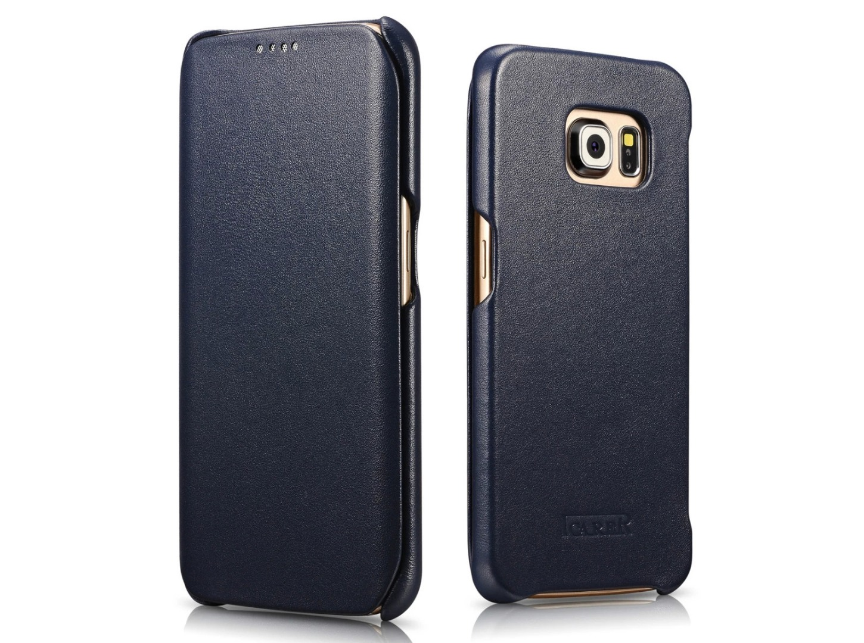 Husa din piele naturala, tip carte, Samsung Galaxy S6 Edge Plus - iCarer Luxury, Albastru