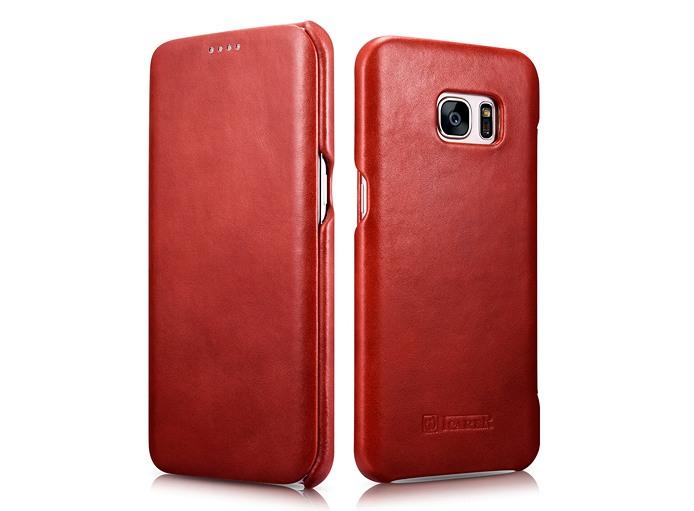 Husa din piele naturala, tip carte, Samsung Galaxy S7 Edge - iCARER Vintage, Rosu burgund