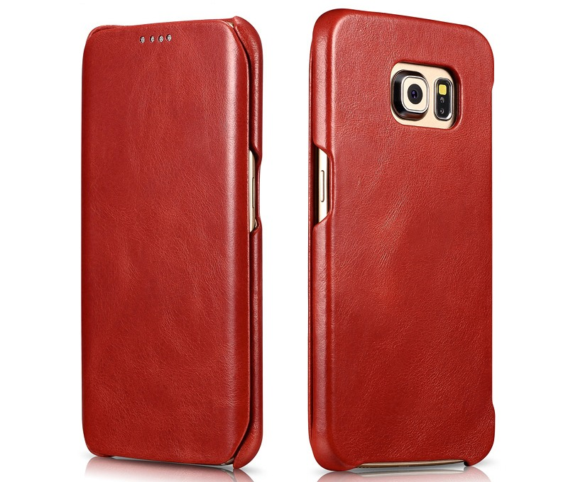 Husa din piele naturala, tip carte, Samsung Galaxy S6 Edge Plus - iCARER Vintage, Rosu burgund