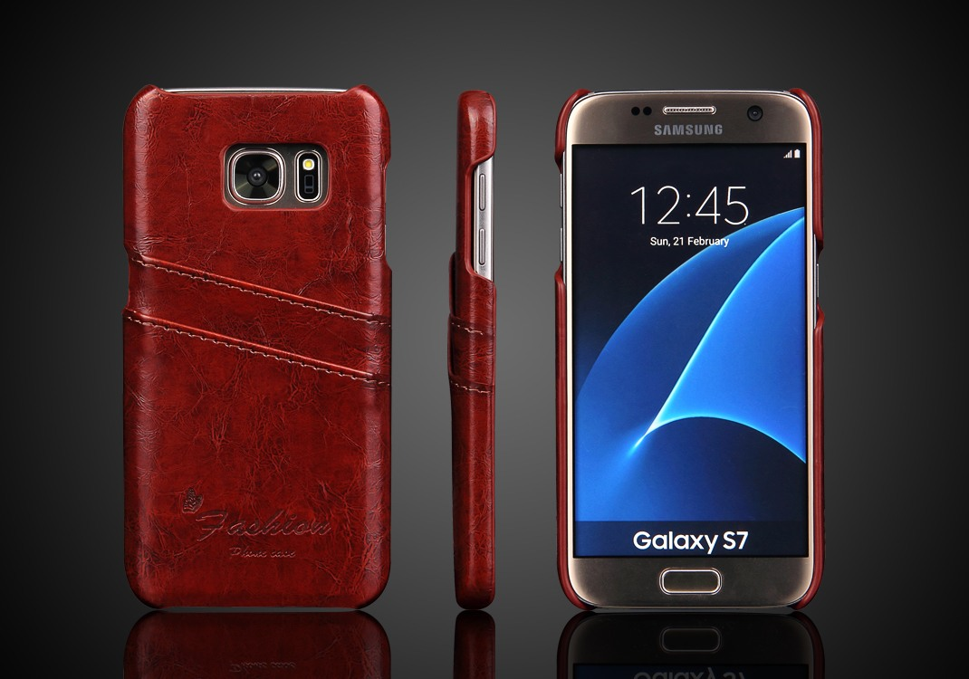 Husa slim din piele fina cu textura vintage, tip back cover, Samsung Galaxy S7 - CaseMe, Maro coniac