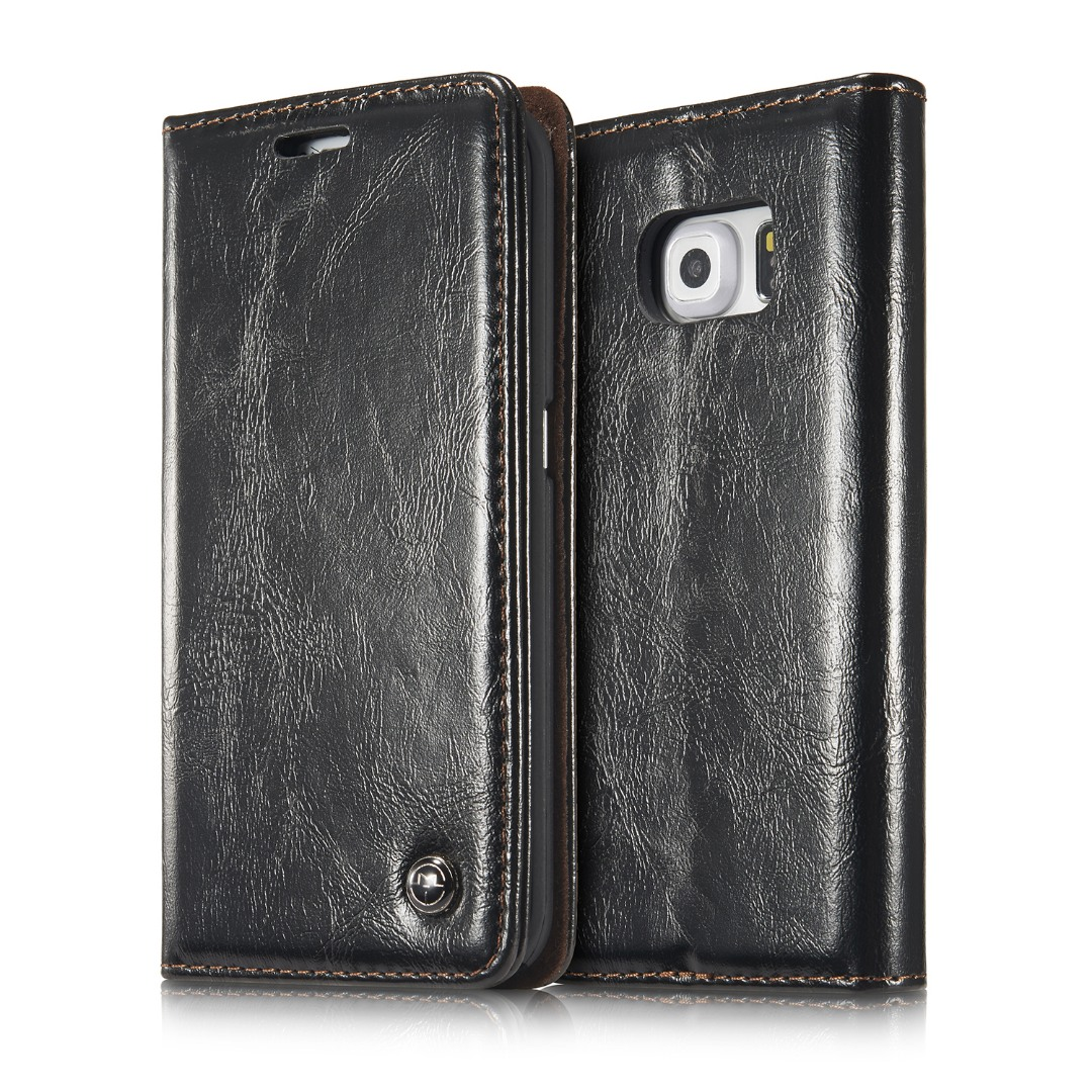 Husa piele fina, tip portofel, stand, inchidere magnetica, Samsung Galaxy S6 Edge - CaseMe, Negru