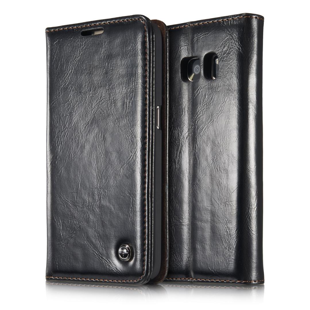 Husa piele fina, tip portofel, stand, inchidere magnetica, Samsung Galaxy S7 - CaseMe, Negru