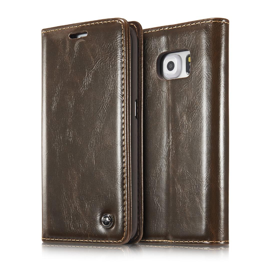 Husa piele fina, tip portofel, stand, inchidere magnetica, Samsung Galaxy S6 Edge - CaseMe, Maro coffee