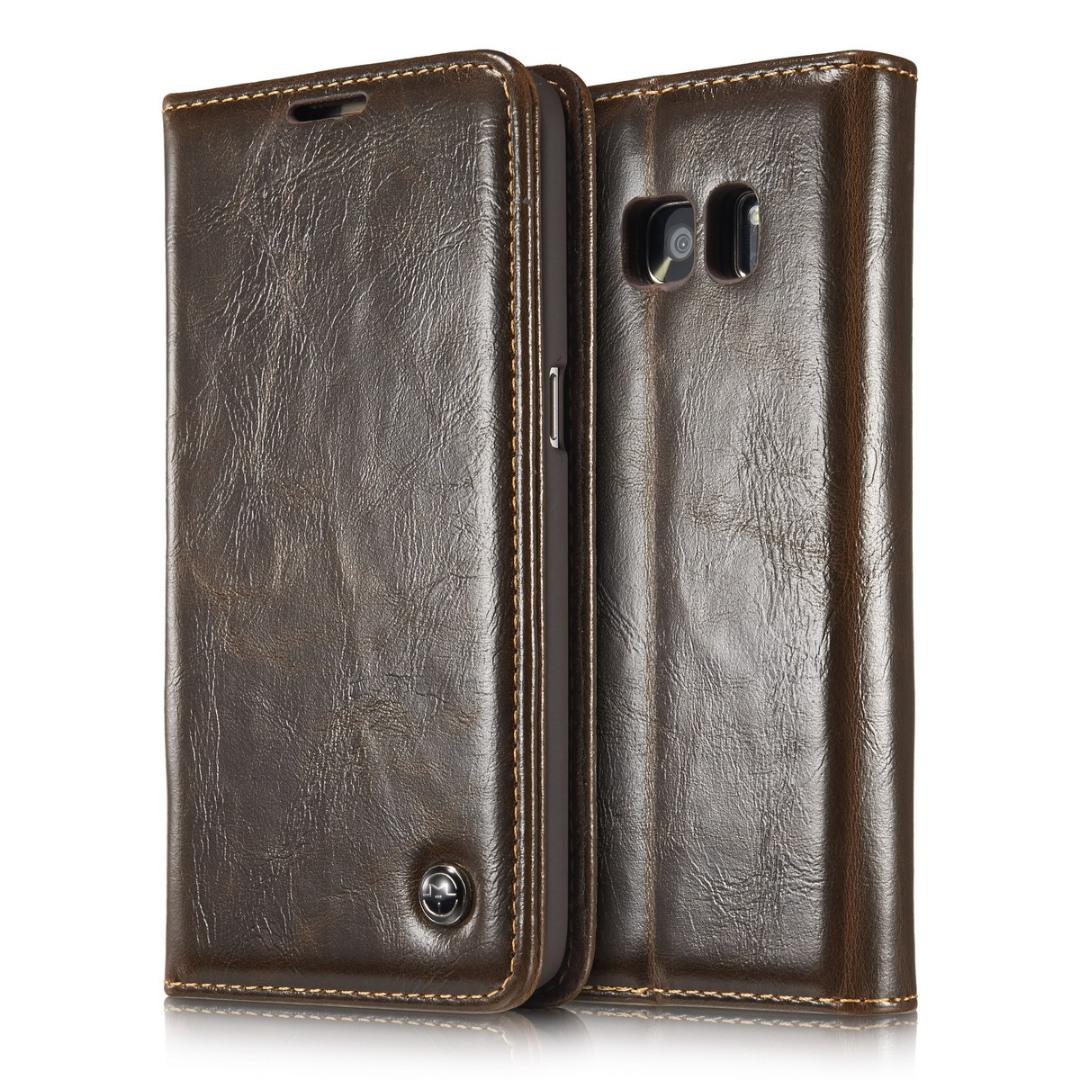 Husa piele fina, tip portofel, stand, inchidere magnetica, Samsung Galaxy S7 - CaseMe, Maro coffee