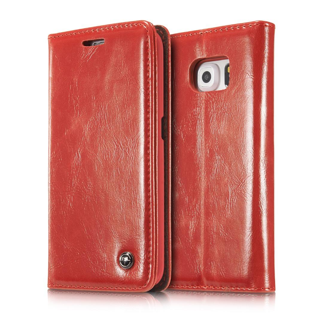 Husa piele fina, tip portofel, stand, inchidere magnetica, Samsung Galaxy S6 Edge - CaseMe, Rosu
