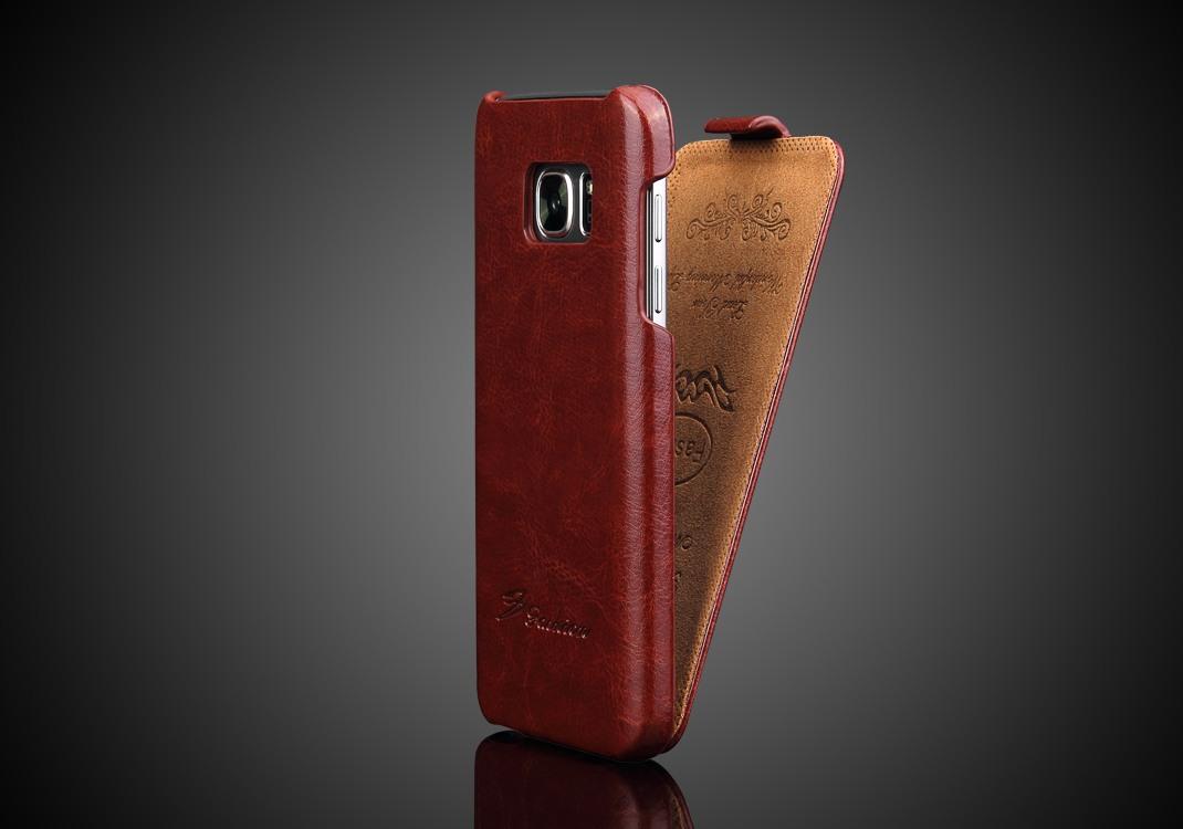 Husa piele fina, tip flip cover, Samsung Galaxy S7 - CaseMe, Maro coniac