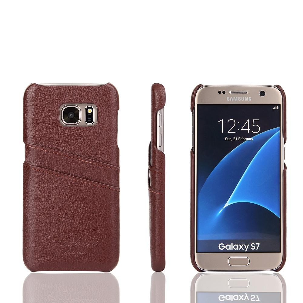 Husa slim din piele, tip back cover, cu buzunarase, Samsung Galaxy S7 - CaseMe, Maro