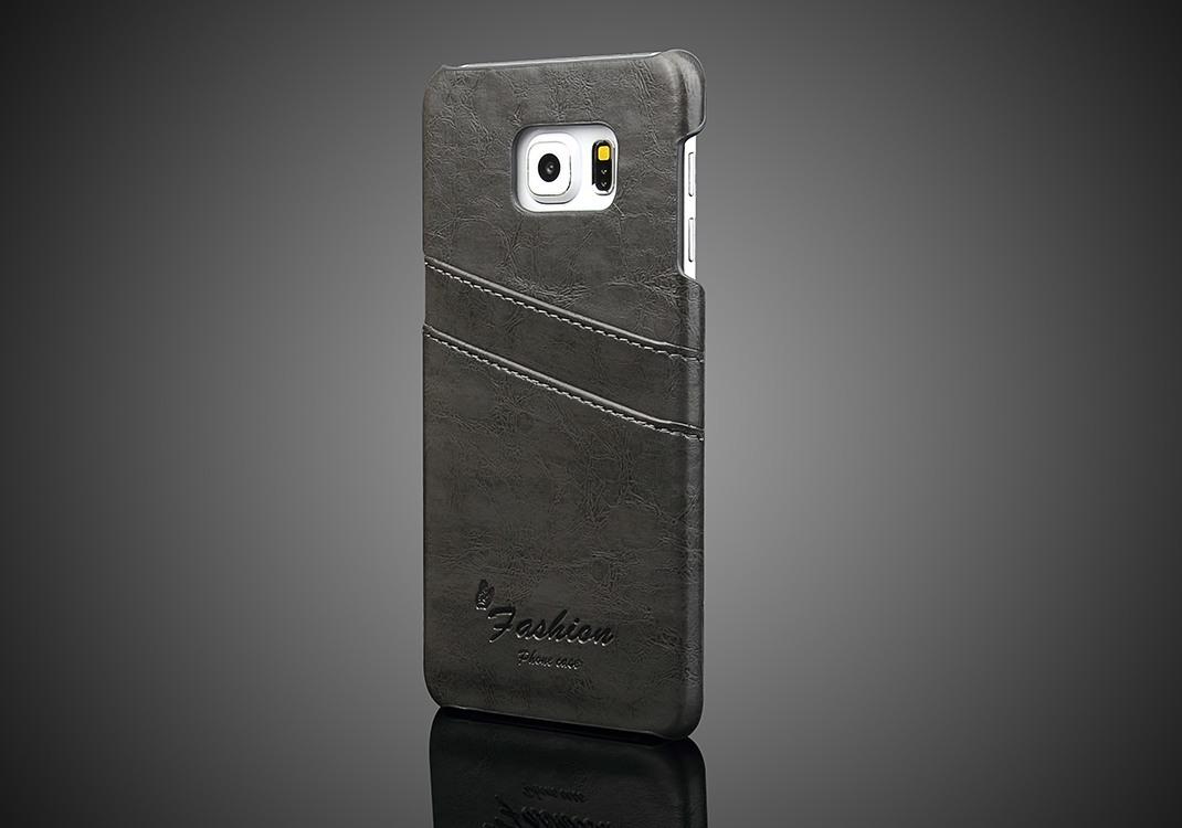 Husa slim din piele fina cu textura vintage, tip back cover, Samsung Galaxy S6 Edge Plus - CaseMe, Gri