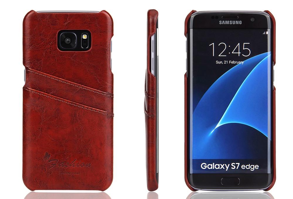Husa slim din piele fina cu textura vintage, tip back cover, Samsung Galaxy S7 Edge - CaseMe, Maro coniac