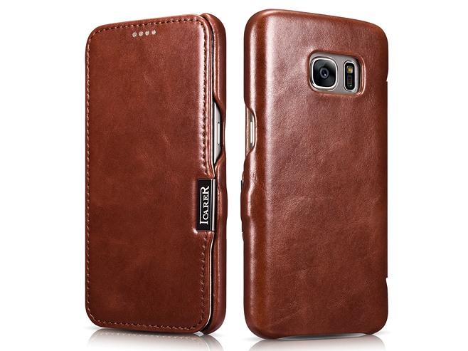 Husa din piele naturala, tip carte, Samsung Galaxy S7 - iCARER Vintage, Maro coniac