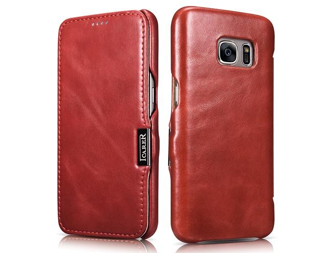 Husa din piele naturala, tip carte, Samsung Galaxy S7 - iCARER Vintage, Rosu burgund