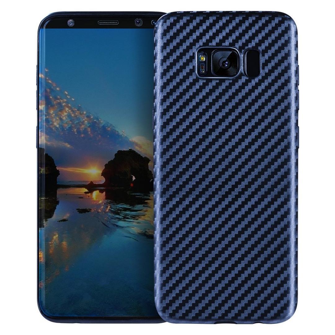 Husa slim din TPU, aspect fibra de carbon, back cover, Samsung Galaxy S8 Plus - Hoco, Albastru