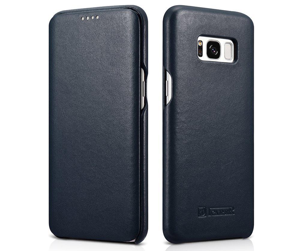Husa din piele naturala, tip carte, Samsung Galaxy S8 - iCarer Luxury, Albastru