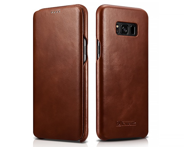 Husa din piele naturala, tip carte cu clapeta curbata, Samsung Galaxy S8 Plus - iCARER Vintage, Maro coniac