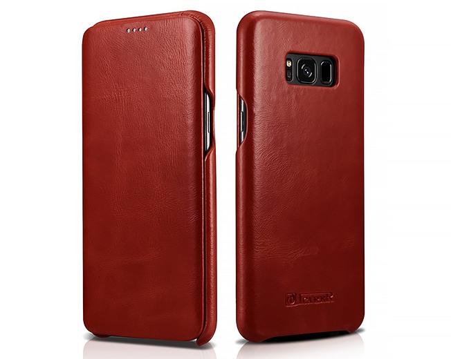 Husa din piele naturala, tip carte cu clapeta curbata, Samsung Galaxy S8 Plus - iCARER Vintage, Rosu burgund