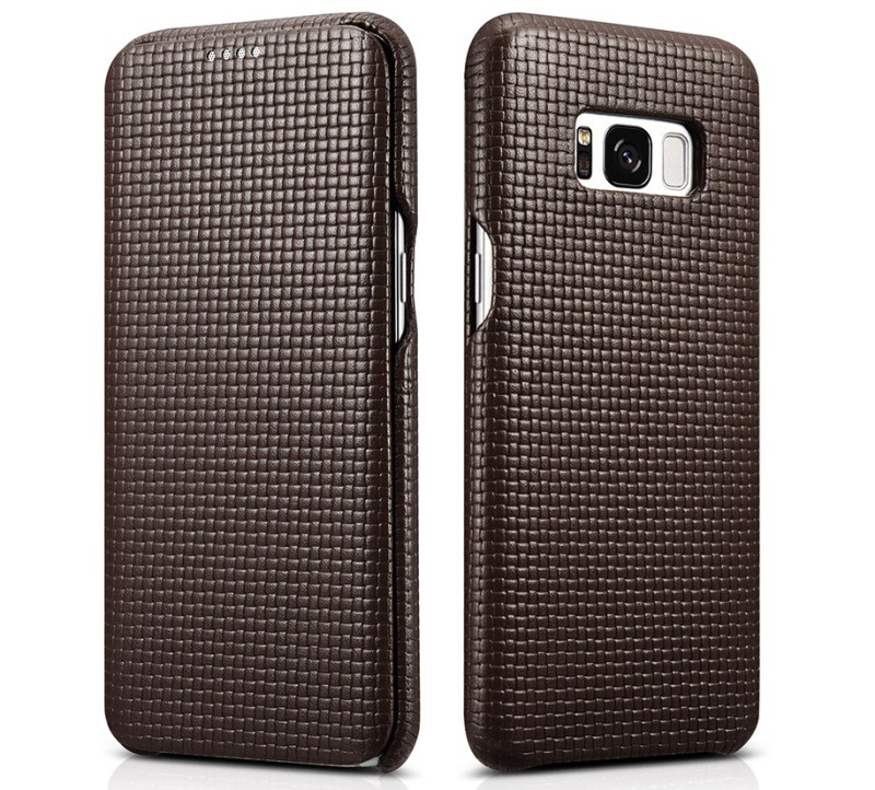 Husa din piele naturala, tip carte, Samsung Galaxy S8 Plus - iCarer Woven, Maro coffee