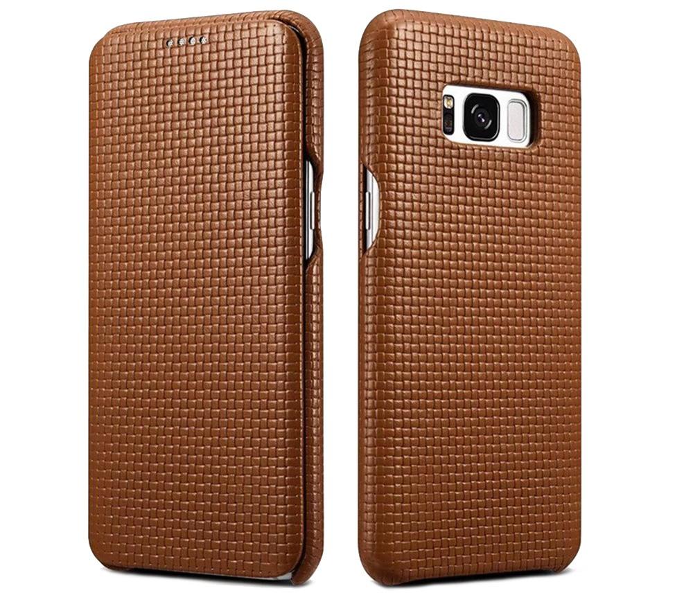 Husa din piele naturala, tip carte, Samsung Galaxy S8 Plus - iCarer Woven, Maro