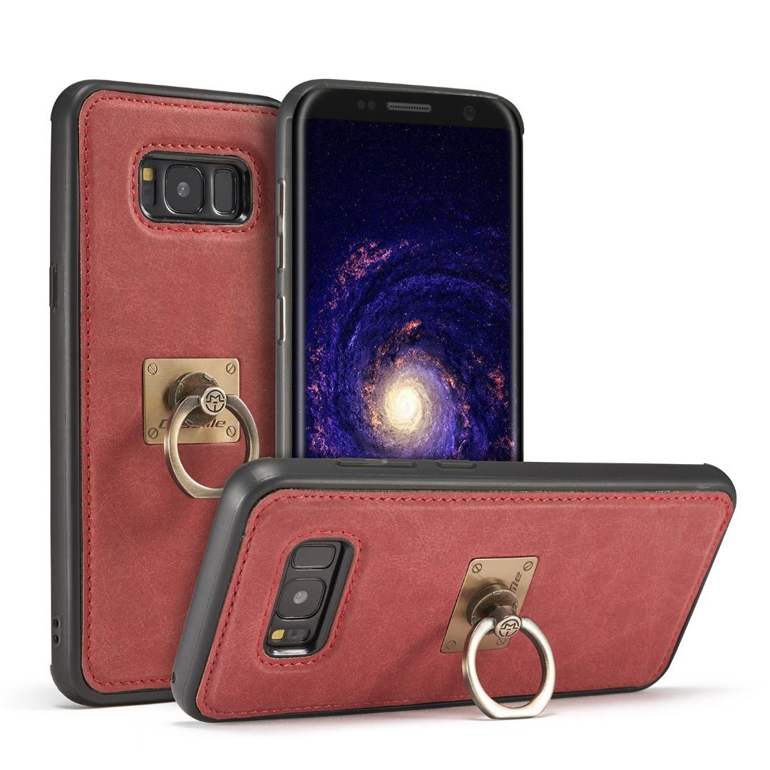 Husa slim piele, cu inel detasabil, back cover, Samsung Galaxy S8 - CaseME, Rosu