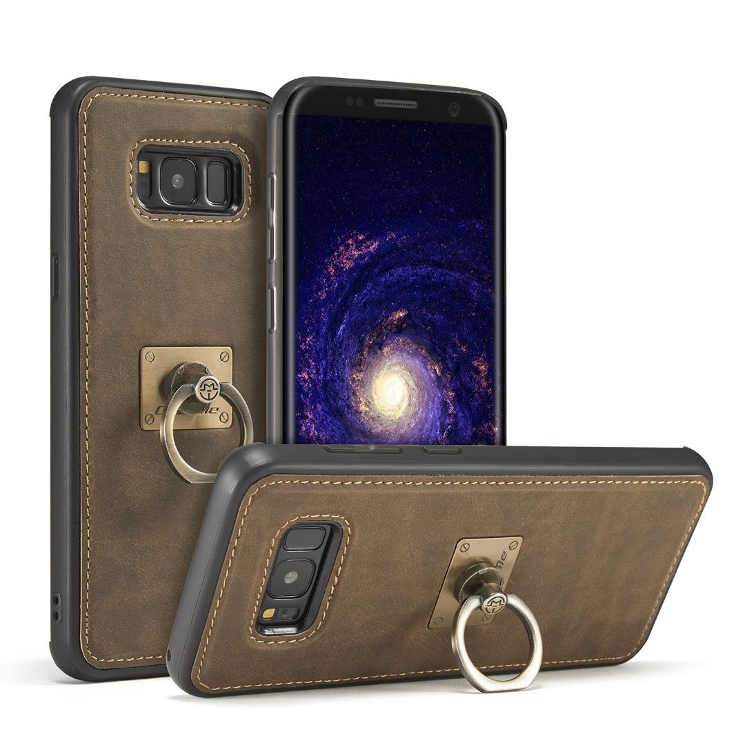 Husa slim piele, cu inel detasabil, back cover, Samsung Galaxy S8 - CaseME, Maro coffee