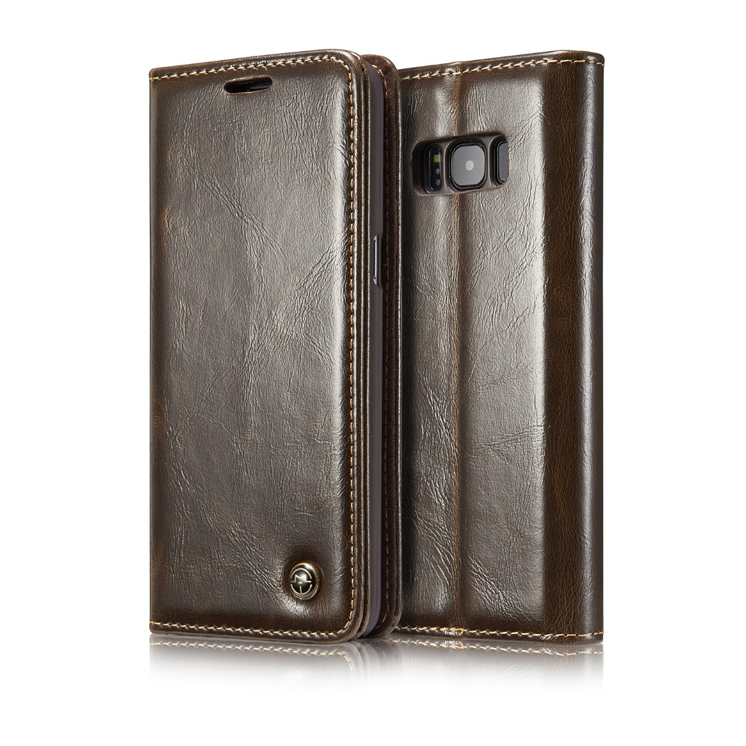 Husa piele fina, tip portofel, stand, inchidere magnetica, Samsung Galaxy S8 Plus - CaseMe, Maro coffee