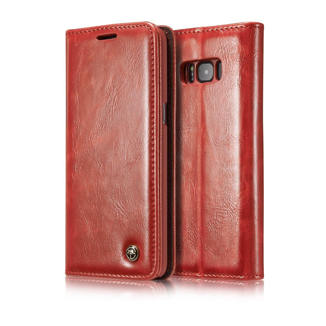 Husa piele fina, tip portofel, stand, inchidere magnetica, Samsung Galaxy S8 - CaseMe, Rosu