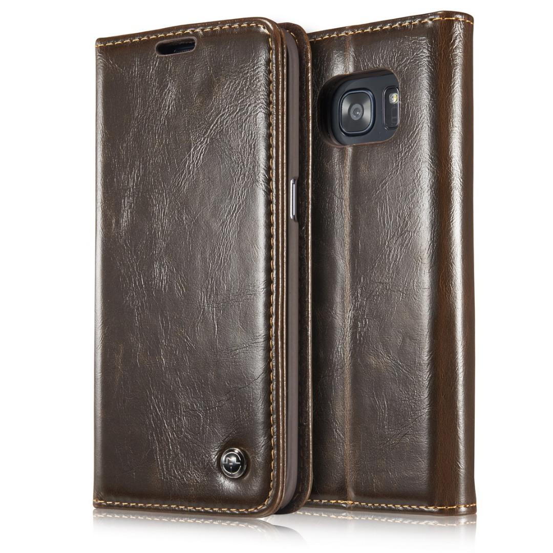 Husa piele fina, tip portofel, stand, inchidere magnetica, Samsung Galaxy S7 Edge - CaseMe, Maro coffee