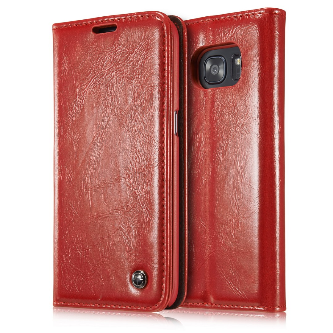 Husa piele fina, tip portofel, stand, inchidere magnetica, Samsung Galaxy S7 Edge - CaseMe, Rosu