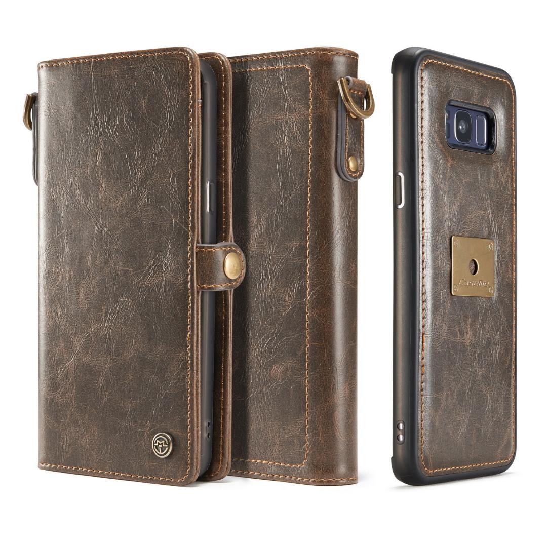 Husa piele portofel, multifunctionala, buzunare carduri, bani, casti, chei, Samsung Galaxy S8 Plus - CaseME, Maro coffee