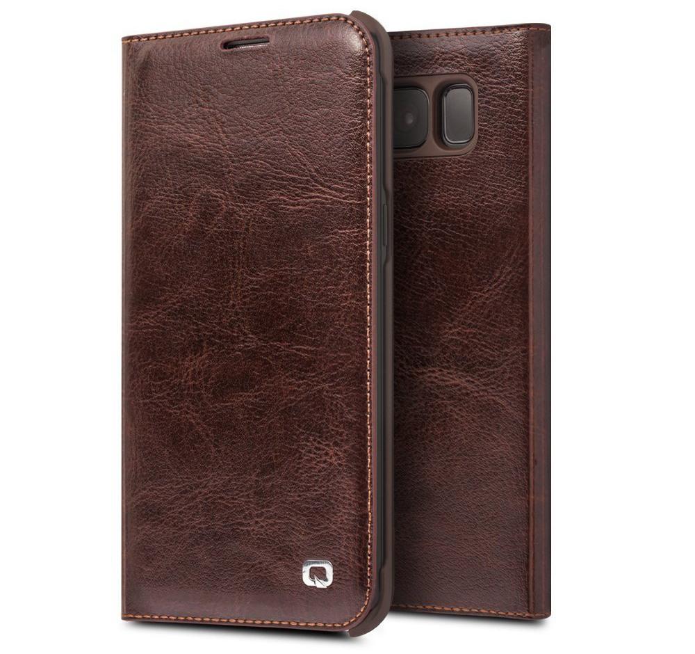 Husa din piele naturala fina, tip carte, cu buzunar card, Samsung Galaxy S8 - Qialino Classic Wallet, Maro coffee