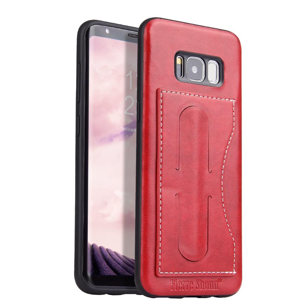 Husa slim piele, slot card, functie stand, tip back cover, Samsung Galaxy S8 - CaseMe, Rosu