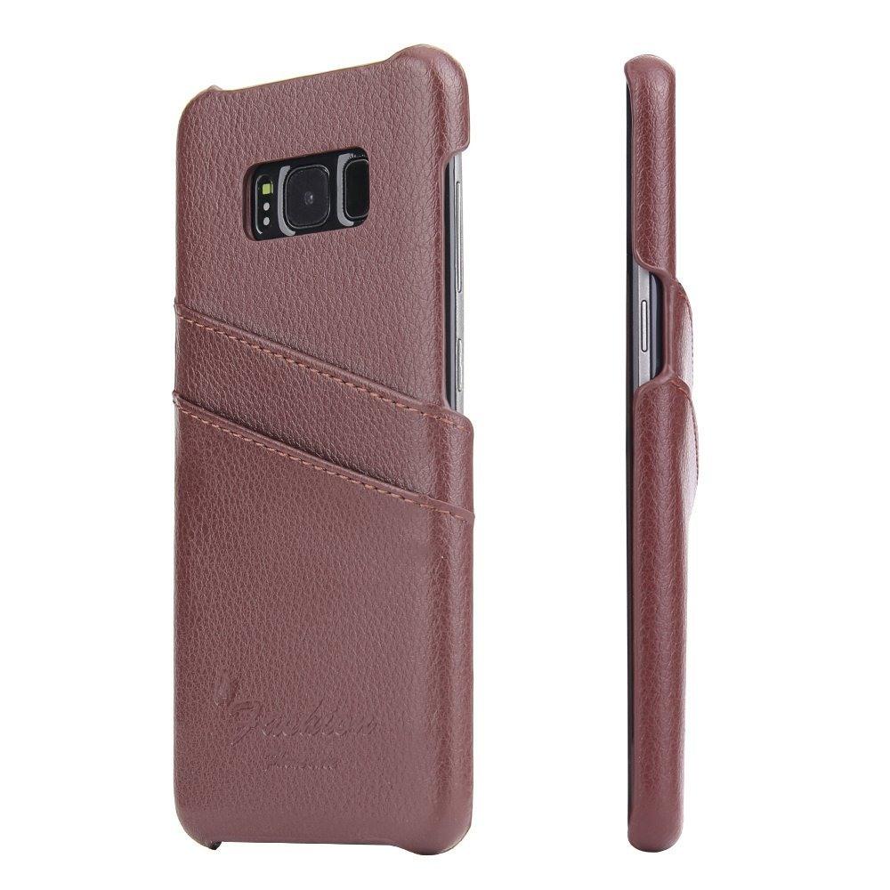 Husa slim din piele, tip back cover, cu buzunarase - Samsung Galaxy S8 Plus - CaseMe, Maro