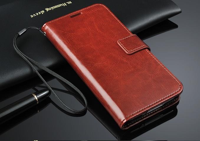 Husa cu protectie superioara din piele fina, tip portofel, Samsung Galaxy S5 / S5 Neo - CaseMe, Maro coniac