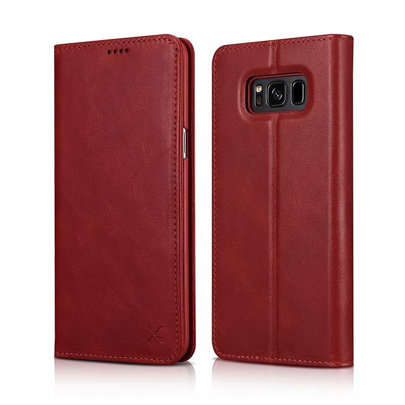 Husa din piele naturala, inchidere magnetica, tip carte, Samsung Galaxy S8 - Xoomz by iCarer Wallet, Rosu