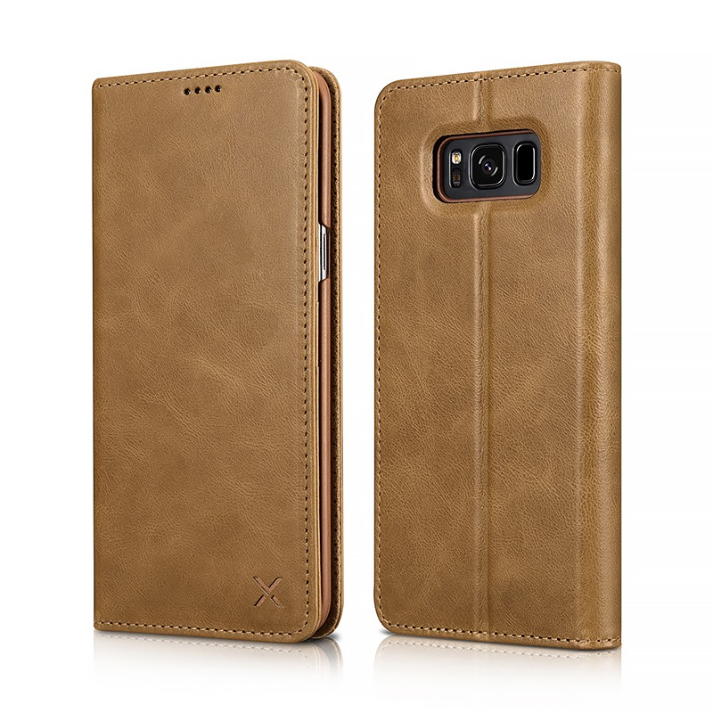 Husa din piele naturala, inchidere magnetica, tip carte, Samsung Galaxy S8 Plus - Xoomz by iCarer Wallet, Maro tabac
