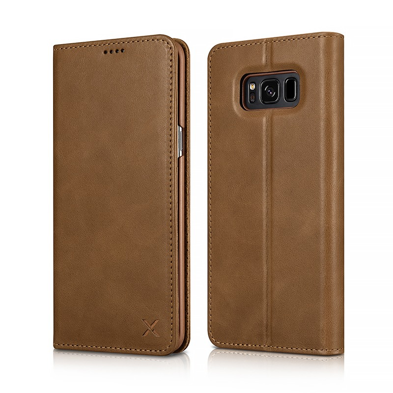 Husa din piele naturala, inchidere magnetica, tip carte, Samsung Galaxy S8 Plus - Xoomz by iCarer Wallet, Maro