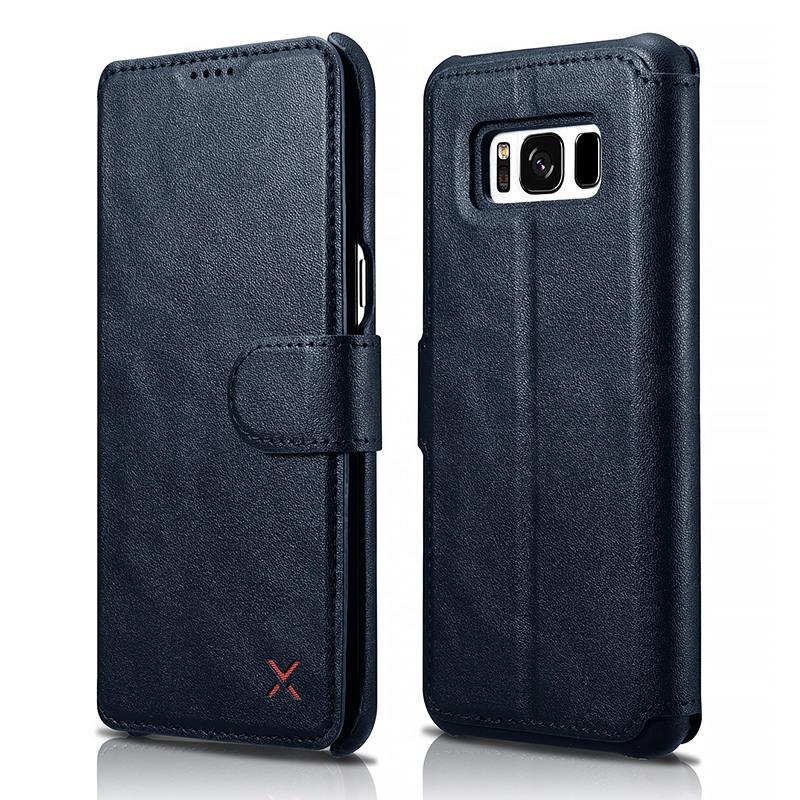 Husa slim piele tip portofel, functie stand, inchidere cu banda magnetica, Samsung Galaxy S8 - Xoomz by iCarer Wallet, Albastru