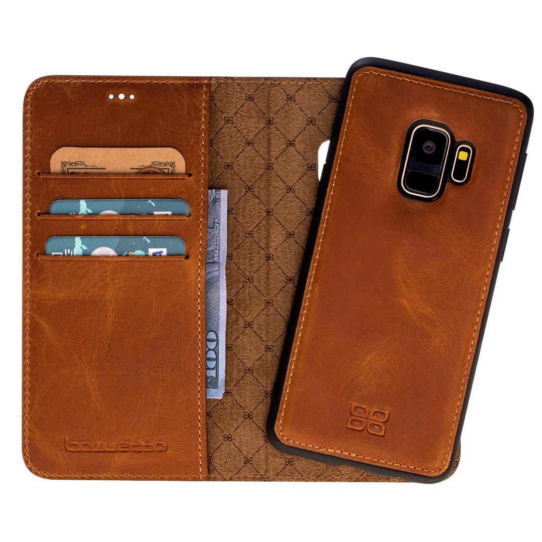 Husa piele naturala 2in1, portofel + back cover, Samsung Galaxy S9, Bouletta Magic Wallet, Antique camel