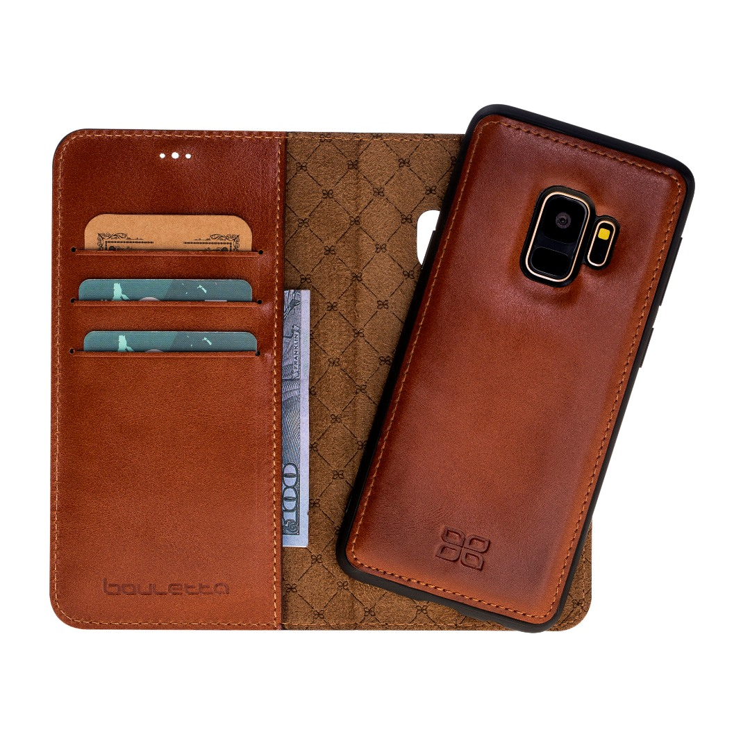 Husa piele naturala 2in1, portofel + back cover, Samsung Galaxy S9, Bouletta Magic Wallet, Burnished tan
