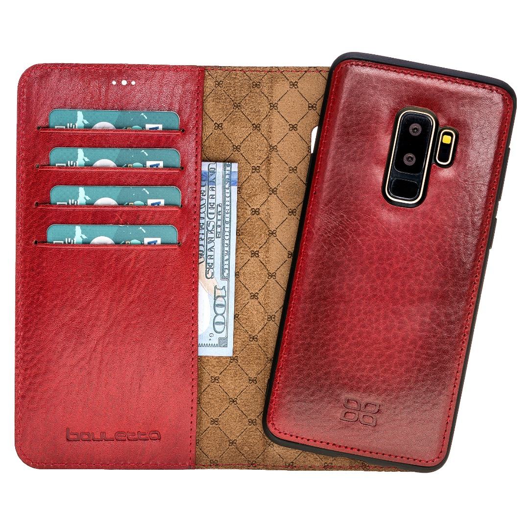Husa piele naturala 2in1, portofel + back cover, Samsung Galaxy S9 Plus, Bouletta Magic Wallet, Burnished red
