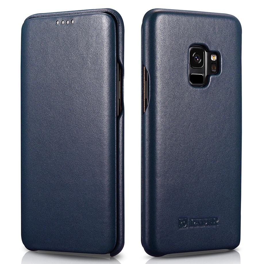 Husa din piele naturala, tip carte, Samsung Galaxy S9 - iCarer Luxury, Albastru