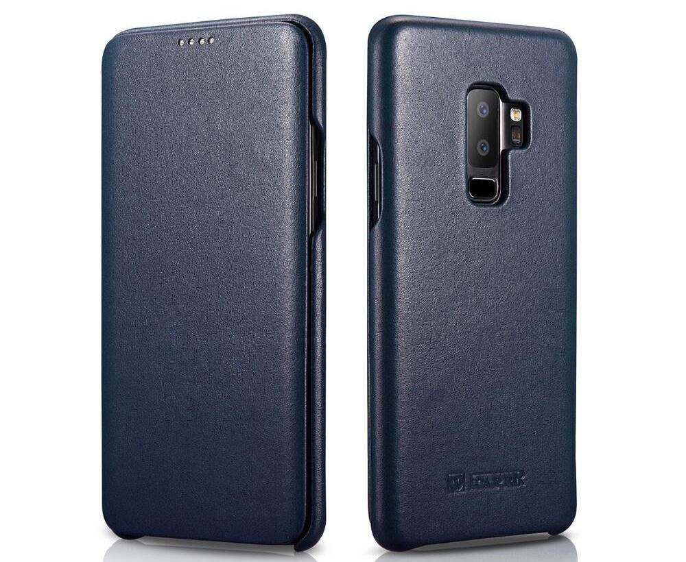 Husa din piele naturala, tip carte, Samsung Galaxy S9 Plus - iCarer Luxury, Albastru