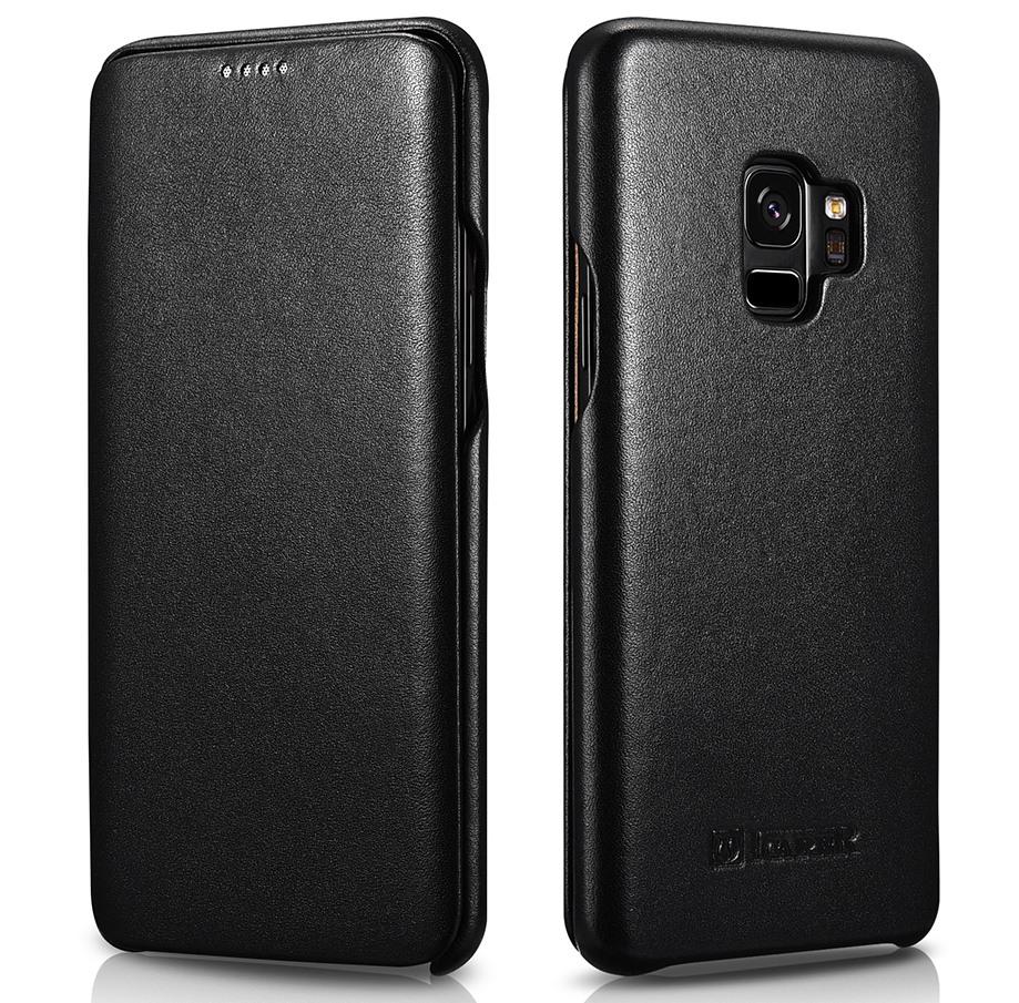 Husa din piele naturala, tip carte, Samsung Galaxy S9 - iCarer Luxury, Negru