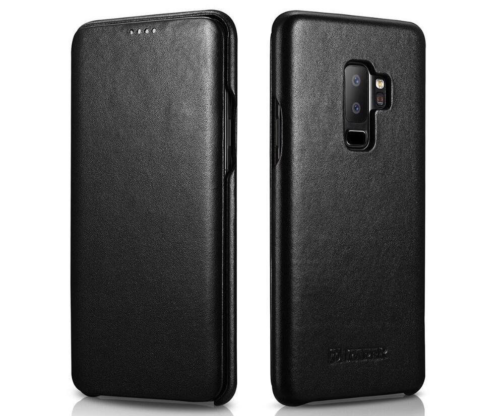 Husa din piele naturala, tip carte, Samsung Galaxy S9 Plus - iCarer Luxury, Negru
