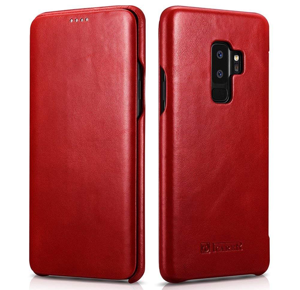Husa din piele naturala tip carte cu clapeta curbata, Samsung Galaxy S9 Plus - iCARER Vintage, Rosu burgund