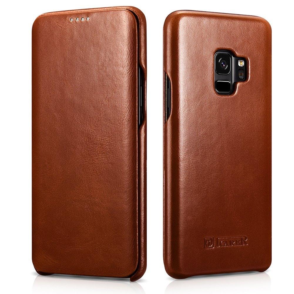 Husa din piele naturala tip carte cu clapeta curbata, Samsung Galaxy S9 - iCARER Vintage, Maro coniac